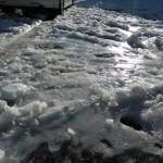 今朝は轍が凍りブラックアイスも出現する厳しい路面だ